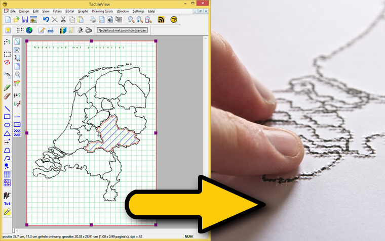 Example of TactileView functionality: from digital design to tactile graphics